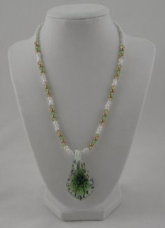 Green Flower Murano Lampwork Pendant Necklace by SummerCAmber, $12.00