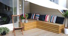 Praktisk putekasse på en helg - Byggmakker Garden Storage Bench, Bench With Storage, Patio Bench, Pergola Patio, Outdoor Furniture Sets, Outdoor Decor, Small Patio, Interior, Home Decor