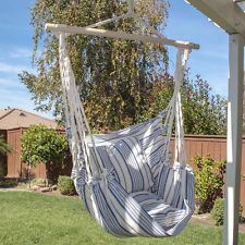 Luxury Blue Striped Hanging Cotton Pillow Hammock Chair - for second floor balcony Outdoor Fun, Outdoor Chairs, Outdoor Decor, Indoor Hammock Chair, Toy Rooms, Swinging Chair, Cotton Pillow, Garden Supplies, Lawn And Garden