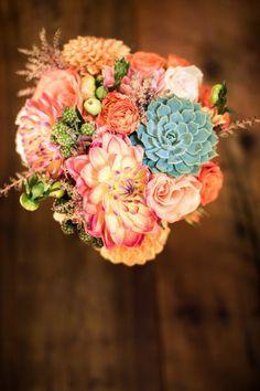 pink peach flowers succulents | • Peach & Mint Bridal Bouquet with~ blue green succulents, peach ...
