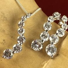 Vintage Exotic White Sapphire Sterling Silver Curved Pendant Necklace and Pierced Drop Earrings Set BB1294|We combine shipping|No Question Refunds|Bid $60 for free shipping. Starting at $1
