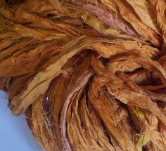 Light Tangerine Reclaimed Silk Yarn Ribbon by Darn Good Yarn | The Best Yarn Store!