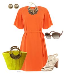 A fashion look from June 2017 featuring loose sleeve dress, leather open toe booties and beach purse. Browse and shop related looks. Short Sleeve Dresses, Dresses With Sleeves, Open Toe Booties, Orange, Fashion Looks, Booty, Clothes For Women, Polyvore, Leather
