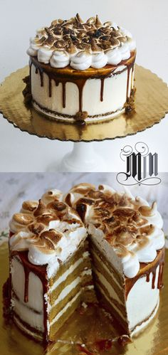 Pumpkin Caramel Party Cake with burnt marshmallow topping