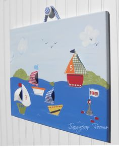 Baby Boats 'Race Day' Wall Art -- to match their PBK bathroom