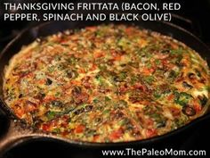 Thanksgiving Frittata Bacon, Red Pepper, Spinach and Black Olive
