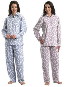 Ladies Slenderella Luxurious Soft Fleece Polka Dot Pyjamas (Blue or Pink)