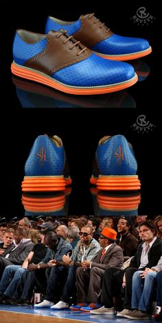 "Customized Cole Haan Lunargrand's by Revive Customs . The custom shoes are done ""Knick"" style (a special Birthday edition for Spike Lee). See Spike wearing them courtside at the bottom."