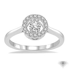 White Gold and Motion Diamond Ring in Round Setting