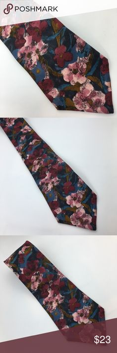 Viaggio | Burgundy & Blues Floral Tie Burgundy, pinks & blues floral tie. In excellent condition with NO spots or damage. Viaggio Accessories Ties