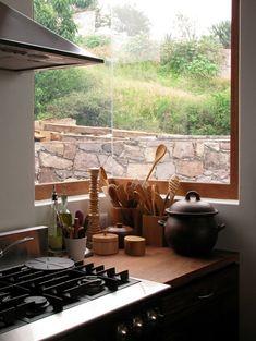corner window and wooden utensils