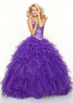 Buy Ball Gown Glamours Organza Beads Sweetheart Neck Tiered Ruffles Prom Dresses New! Online Cheap Prices