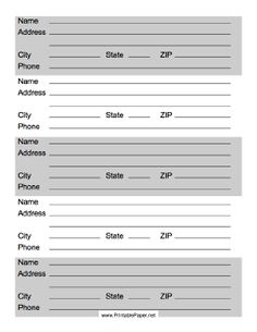 this printable address list has from for contact information including phone numbers for up - Free Printable Address Book Sheets