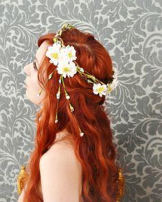 Wreath, flower circlet, bridal hair crown, woodland wedding accessory - mucha. $70.00, via Etsy.