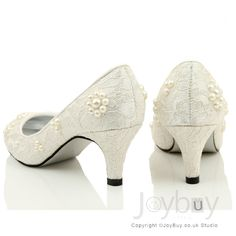 Lace Wedding Shoes Small Heel | Flowers Lace White Shoes for Wedding Low Heel. Less pearls and maybe smaller heel