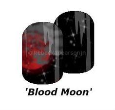 Watch a Blood moon on a starry night. #nas #nails #moon #bloodmoon #jamberry #rebeckapearsonjn #clouds #stars #nailart