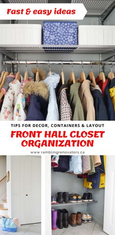 How to organize a small hall closet with ideas for storage, shelving, and decor