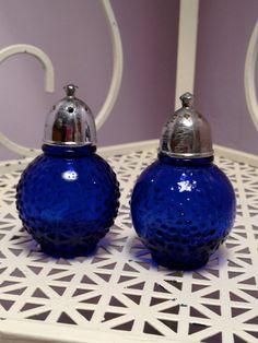 Vintage Cobalt Blue Depression Glass Salt by SchmitysVintageBooty, $11.00