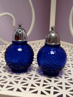 Vintage Cobalt Blue Depression Glass Salt by SchmitysVintageBooty, $11.00