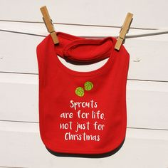 A playful Christmas bib, for Sprout lovers, that has been hand printed and finished to a high quality. #sprouts #christmasbib