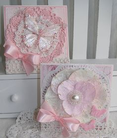 Shabby Chic Butterfly and Flower Handmade Card Set