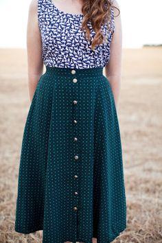 Cat shirt and polka dot skirt