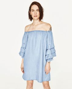 OFF-THE-SHOULDER POPLIN DRESS-DRESSES-WOMAN   ZARA United States