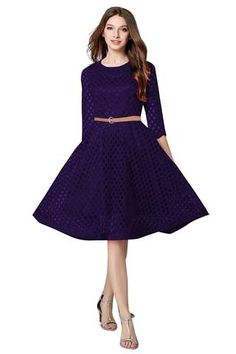 771b7b6abc SRP FASHION-Navy Blue Color Stitched Lace Dress-SRP-Maxican NevyBlue New  Western