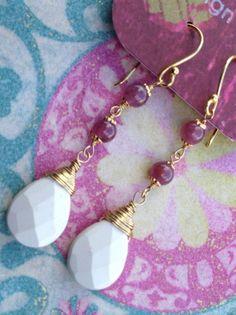 Long Ruby and Howlite earrings
