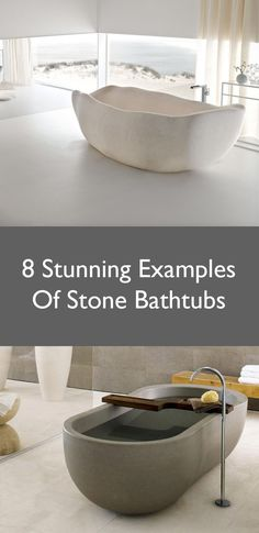 8 Stunning Examples Of Bathtubs Made From Solid Stone Bathroom Layout, Bathroom Interior, Bathroom Designs, Bathroom Ideas, Stone Bathtub, Luxury Bathtub, Decoration Piece, Window Design, Home Reno