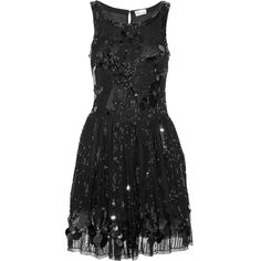 RED Valentino Embellished mesh dress ($390) ❤ liked on Polyvore featuring dresses, vestidos, valentino, black dresses, fitted cocktail dresses, beaded dress, loose dress, sequin dress and beaded mesh dress