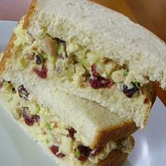 Curried Chicken Tea Sandwiches Recipe Lunch and Snacks with cooked chicken, red apples, dried cranberries, celery, chopped pecans, sliced green onions, mayonaise, lime juice, curry powder, bread, lettuce leaves