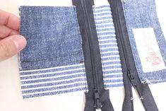 コインキーケースの作り方[型紙無料ダウロード] | ひらめき工作室 Jean Purses, Purses And Bags, Purse Wallet, Coin Purse, Jean Crafts, Patchwork Patterns, Couture, Upcycle, Quilts