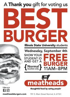 Yes it's happening again....FREE BURGER DAY at ISU! Thanks for voting us best burger for the third year in a row! https://www.facebook.com/events/471139912981156/