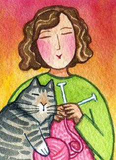 Tejer Lady gato y gatito Tabby... Pintura acuarela original de ACEO miniatura