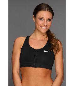 Nike Pro Bra Zip Front Black/Black/White - 6pm.com