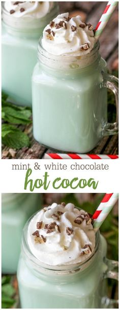 DELICIOUS Mint and White Chocolate Hot Cocoa - it will be your new favorite holiday drink. It's easy to make and so addicting! A smooth and creamy homemade hot chocolate made from white chocolate chips, with just the right touch of mint. Winter Drinks, Holiday Drinks, Holiday Recipes, Christmas Mocktails, Christmas Desserts, Holiday Ideas, Holiday Gifts, Menta Chocolate, White Chocolate