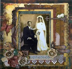 Priceless Treasures...gorgeous distressing, ephemera and layering on this heritage wedding layout.