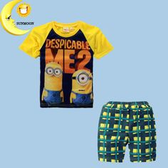 "Summer 'Despicable Me 2"" Children Boys Clothing Set /Baby Boy  2 Piece T-Shirt  Shorts Minion Outfit"