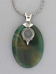 Green Agate Pendant Gemstone Bali Sterling Silver Jewelry Oval Cabochon