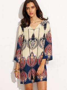 Online shopping for Tribal Print V Neck Three Quarter Sleeve Shift Dress from a great selection of women's fashion clothing & more at MakeMeChic.COM.