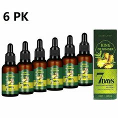 Hair Growth Serum Regrow 7 Day Ginger Germinal Hairdressing Oil Loss Treatment - 6 PK