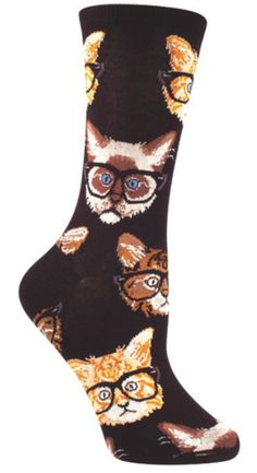 Socksmith Black and Brown Kittenster Crew Socks