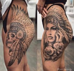 Realistic Inspiration | Inkstinct Indian Girl Tattoos, Indian Skull Tattoos, Girl Thigh Tattoos, Hip Tattoos Women, Dope Tattoos, Full Leg Tattoos, Art Tattoos, Native American Tattoos, Native Tattoos