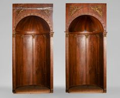Pair of walnut and gilt stucco alcoves, Louis-Philippe style, with Allegory of Renown (Reference - Available at Gallery Marc Maison Alcoves, Architectural Antiques, Corinthian, Buckingham Palace, Wood Paneling, Architecture, French Antiques, 19th Century, Art Decor