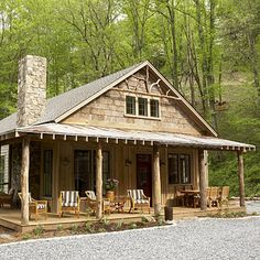 Love the woodwork under the eaves.  Might be a neat idea for our cabin?