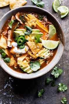 Crockpot Spicy Chicken Tortilla Soup   halfbakedharvest.com @hbharvest