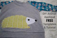 Free Tutorial and template for the animal appliqués Hedgehog, Owl, Fox, Raccoon