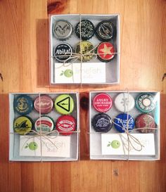 Bottlecap magnets beer 6 pack gift box Set by Limefishshop on Etsy Bottle Cap Projects, Bottle Cap Crafts, Diy Bottle, Diy Gift Box, Diy Box, Diy Gifts, Gifts For Beer Lovers, Beer Gifts, Homemade Gifts For Men