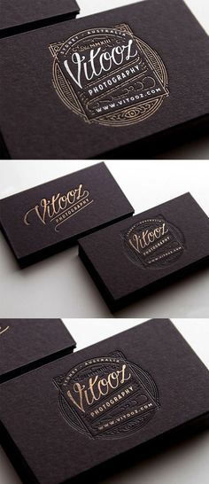 Vintage Graphic Design This set of business cards features superbly detailed vintage style illustrations printed on black with gold and white highlights. Vintage Business Cards, Black Business Card, Unique Business Cards, Business Card Maker, Business Card Logo, Business Card Design, Creation Flyer, Photography Logo Design, Beauty Photography